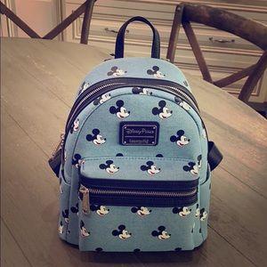 NEW Disney loungefly denim Mickey backpack